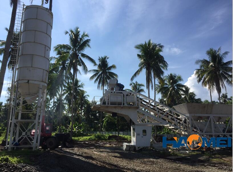 Another YHZS60 mobile concrete batching plant install in Philippines